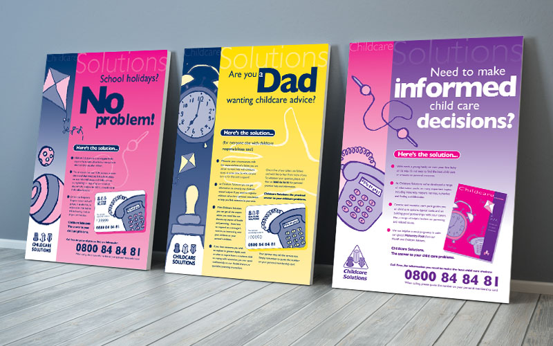 Image of a range of designs for Childcare Solutions Posters