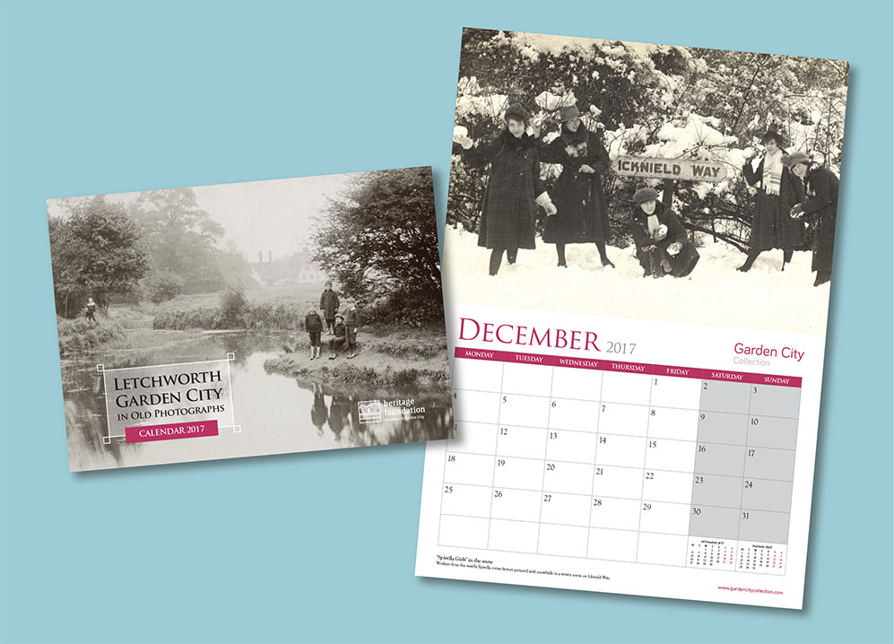 Image of Letchworth Garden City in Old Photographs Calendar 2017, front cover and inside spread