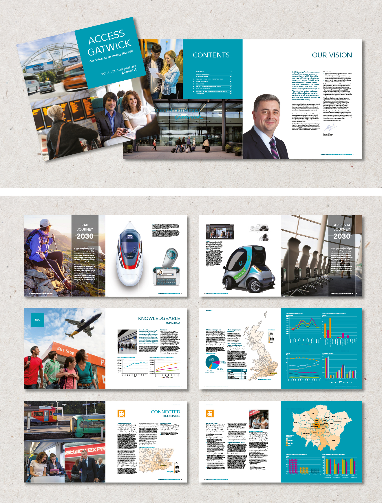 Image of a corporate brochure for Gatwick covering their Air Surface Access Strategy