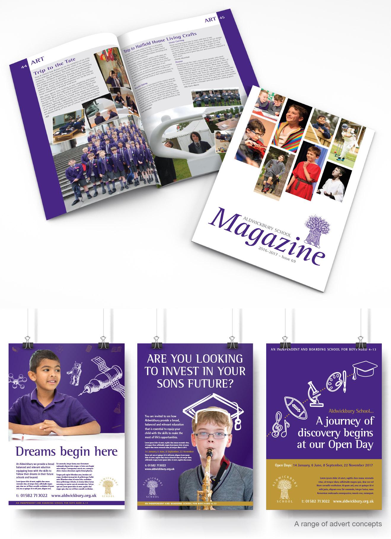 Image showing Alwdwickbury School magazine and advert concepts