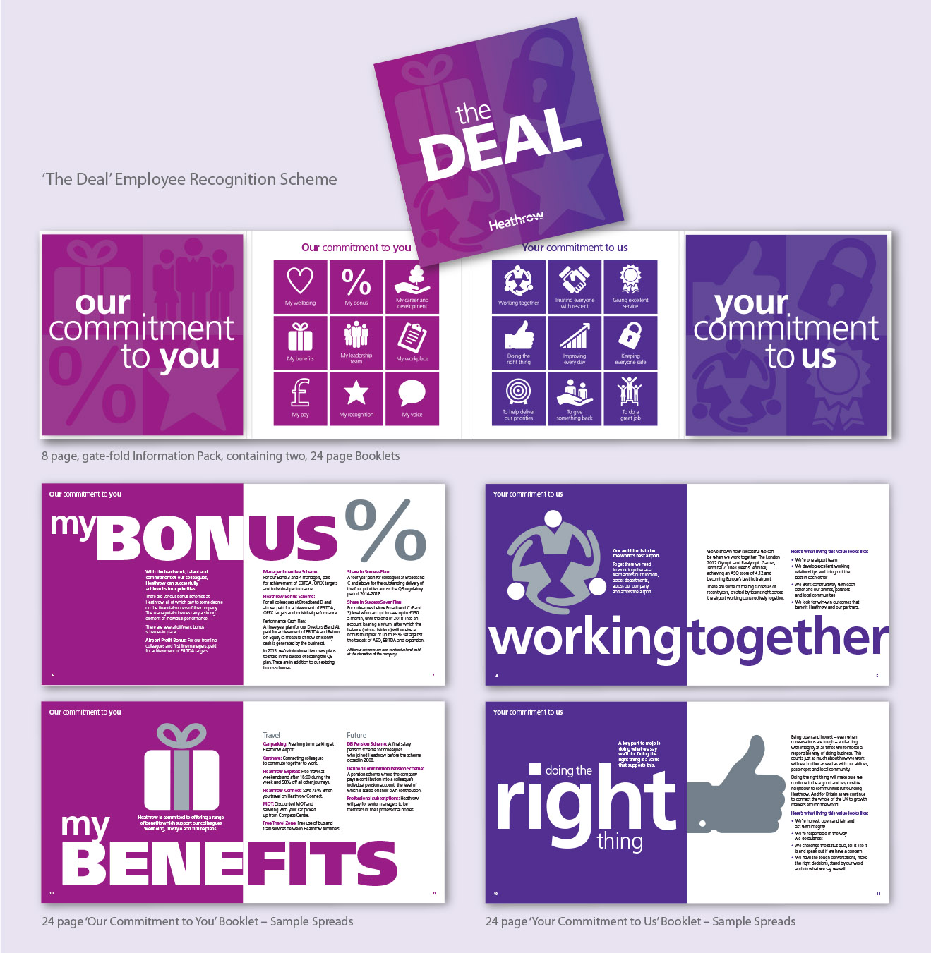 Examples of internal comms, showing 'The Deal' booklet